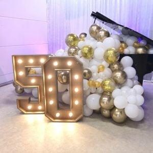 lichtletters huren cijfers 1 50 jarig jubileum verjaardag